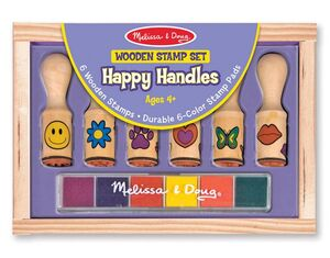 M&D - Sellos con mango de madera Happy Handle Stamp set