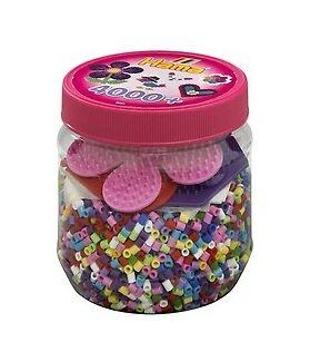 Hama- bote rosa 4000 beads y tres placas