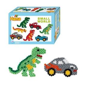 Hama - caja regalo mundo pequeño Coches y Dinosaurios