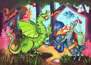 Djeco - Puzzle Silueta El Caballero del Dragón (36 piezas)