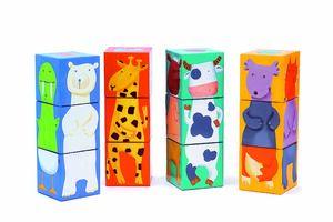 Djeco - 12 cubos animales colores