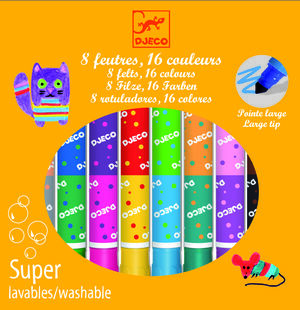 Djeco Rotuladores dobles super lavables (8 rotuladores 16 colores)