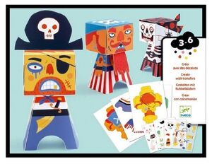 Djeco - Crea con calcamonias Piratas