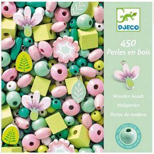 Djeco - Perlas de madera Hojas y Flores