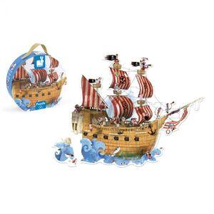 Janod - maleta puzzle gigante barco pirata