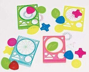 Regla con 4 modelos geométricos para dibujar espirales