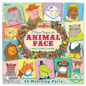 eeboo - Memo 'caras animales' (animal face) (48 piezas)