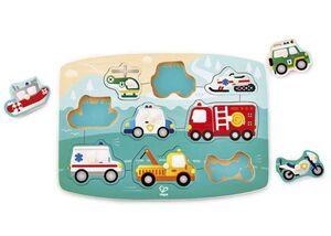 Hape - Puxle encajable vehículos de emergencias