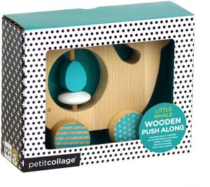 Petitcollage - Little Whale - juguete para empujar de madera