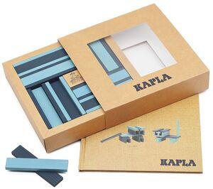 Kapla - Caja 40 tablillas - Azul claro y oscuro + libro