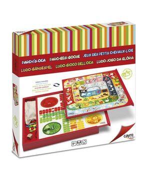 Caja parchís oca con acc. colorido caja madera Natural games kids