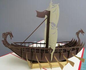 Kiriarte - Tarjeta pop-up Barco vikingo