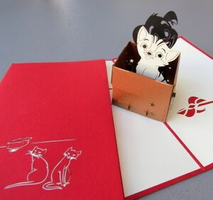 Kiriarte - Tarjeta pop-up gato y cachorro