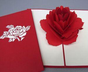 Kiriarte - tarjeta pop-up rosa roja