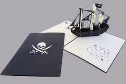 Kiriarte - Tarjeta pop-up Barco pirata