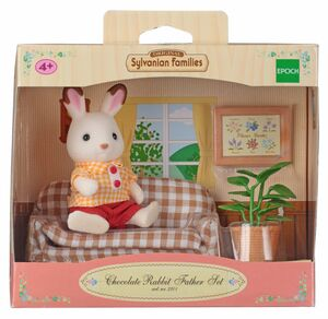 Sylvanian - Papa conejo chocolate con sofa