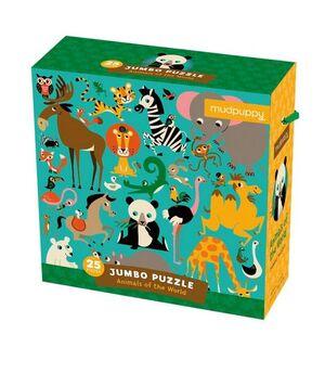 Mudpuppy - Jumbo Puzle Animales del mundo 25p