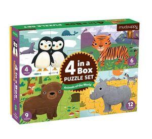 Mudpuppy - Caja 4 puzles Animales del mundo. 4p, 6p, 9p, 12p
